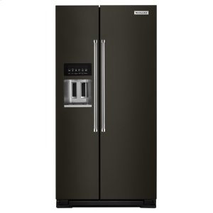 KITCHENAID24.8 cu ft. Side-by-Side Refrigerator with Exterior Ice and Water and PrintShield(TM) finish - Black Stainless Steel with PrintShield(TM) Finish