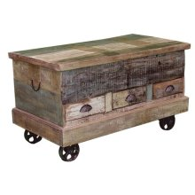 Painted Storage Trunk W/Iron Wheels