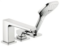 Chrome 3-Hole Roman Tub Set Trim with Loop Handle and 2.0 GPM Handshower