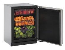 "24"" Solid Door Refrigerator Stainless Solid Left-Hand Hinge"
