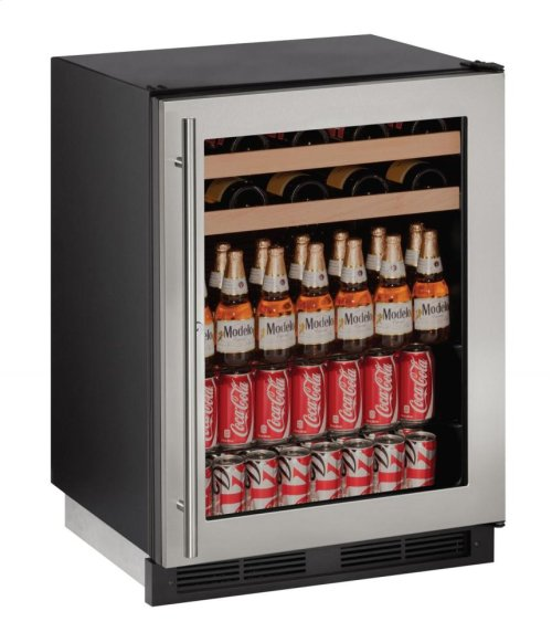 """1000 Series 24"""" Beverage Center With Stainless Frame (lock) Finish and Field Reversible Door Swing"""