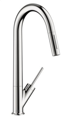 Chrome Starck 2-Spray HighArc Kitchen Faucet, Pull-Down