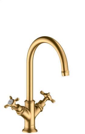 Brushed Brass 2-handle basin mixer without pull-rod