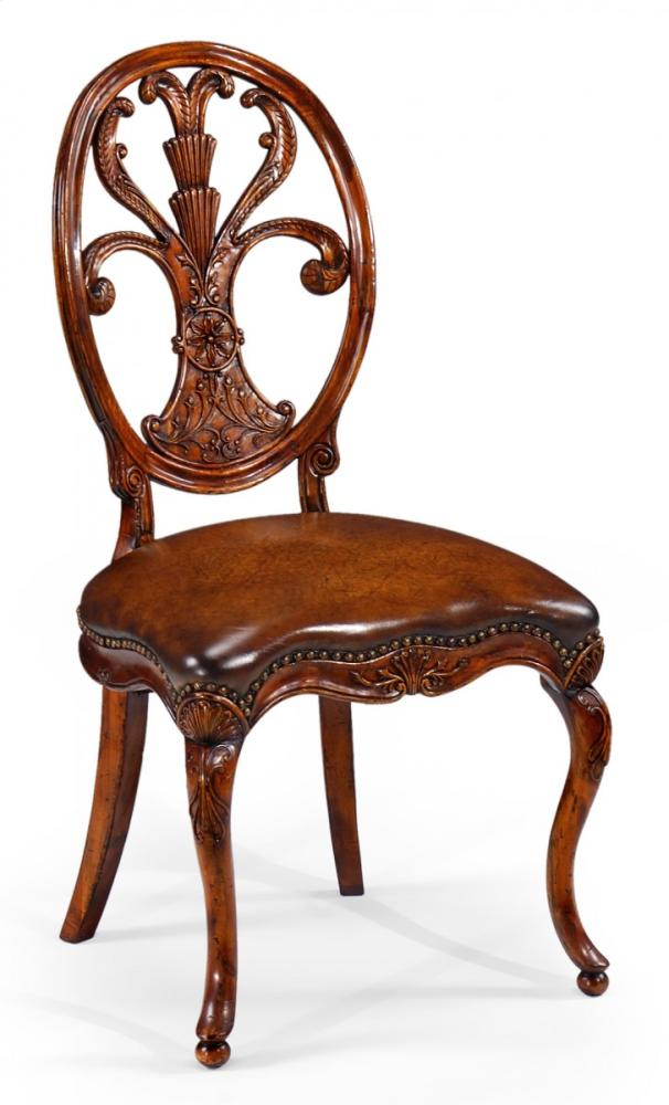 Oval Back Side Chair #46 - Sheraton Style Oval Back Side Chair For Medium Antique Chestnut Leather  Seat Hidden