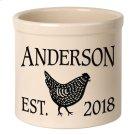 Personalized Chicken 2 Gallon Stoneware Crock - Black Engraving / Bristol Crock Product Image