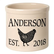 Personalized Chicken 2 Gallon Stoneware Crock - Black Engraving / Bristol Crock