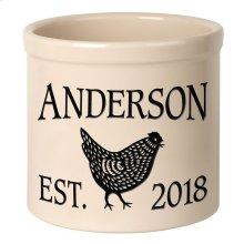 Personalized Chicken 2 Gallon Stoneware Crock - Black Engraving / Bristol Crock