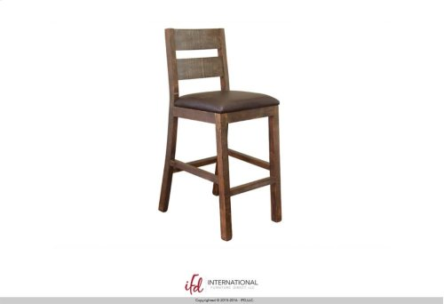 "30"" Wooden Barstool w/Faux Leather seat"