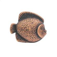 Solid brass fish-shaped knob.