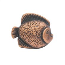 Solid brass fish-shaped knob.