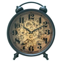 Black and Brass Gear Table Clock