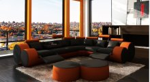 Divani Casa 3087 - Modern Black and Orange Bonded Leather Sectional Sofa & Coffee Table
