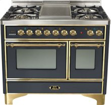 "Matte Graphite 40"" French Top Majestic Techno Dual Fuel Range"