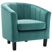 Prospect Channel Tufted Upholstered Velvet Armchair in Teal Product Image