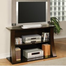 """Espresso"" Swoop Front Bookcase Media Stand"