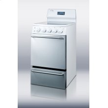 """20"""" wide electric range with stainless steel doors, white cabinet, smooth ceramic glass burners, towel bar handles and deluxe backguard"""