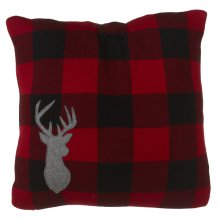 Buffalo Plaid Knit Pillow with Stag.