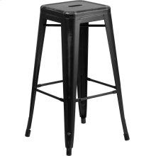 30'' High Backless Distressed Black Metal Indoor-Outdoor Barstool