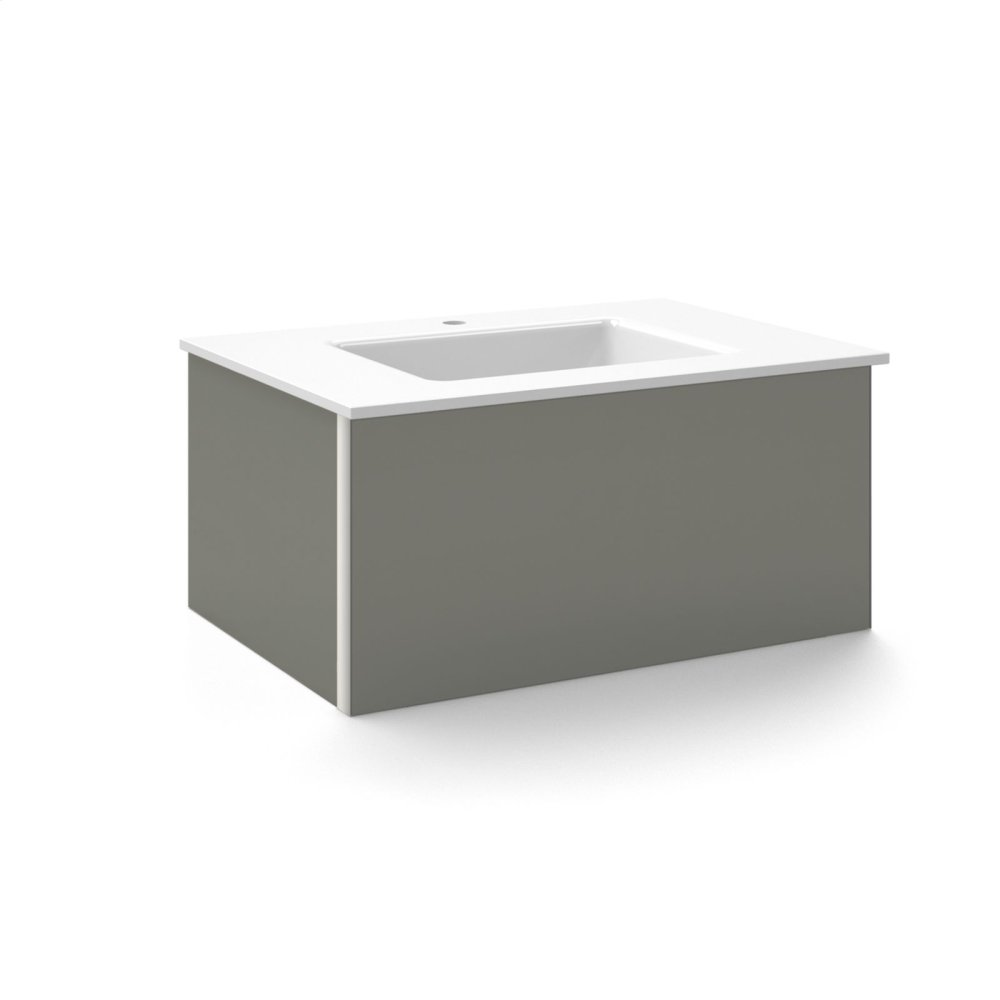 """V14 30-1/4"""" X 14"""" X 21"""" Wall-mount Vanity In Tinted Gray Mirror With Slow-close Plumbing Drawer and 31"""" Stone Vanity Top In Quartz White With Center Mount Sink and Single Faucet Hole"""