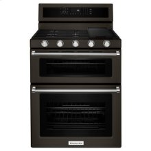 KitchenAid® 30-Inch 5 Burner Gas Double Oven Convection Range - Black Stainless