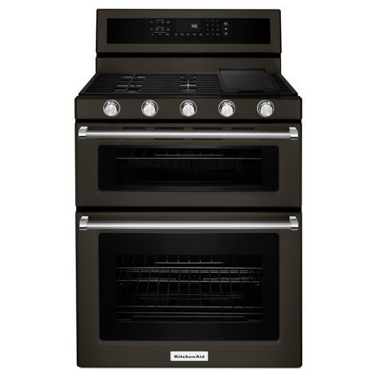 KitchenAid® 30 Inch 5 Burner Gas Double Oven Convection Range   Black  Stainless Hidden
