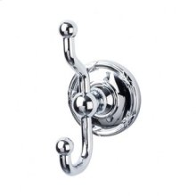 Edwardian Bath Double Hook Ribbon Backplate - Polished Chrome