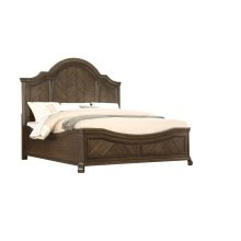 Emerald Home B553-10-k Knoll Hill Queen Curved Bed Walnut Brown B553-10-k