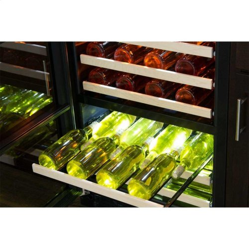 "24"" High Efficiency Dual Zone Wine Cellar - Stainless Frame, Glass Door - Left Hinge, Stainless Designer Handle"