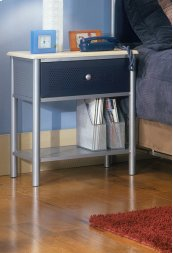 Brayden Nightstand Silver and Navy