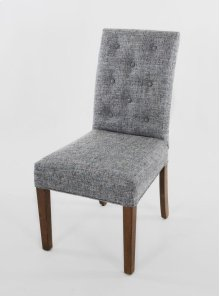 Striped fabric not allowed on this style. A smaller scale wood leg chair with a straight top and eight buttons on the back