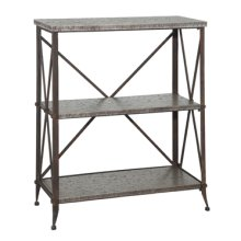 """Foundry """"Antique Pewter"""" Tall 3-Shelf Bookcase with Gallery Crown"""