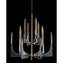 Acrylic and Brass Ten-Light Chandelier