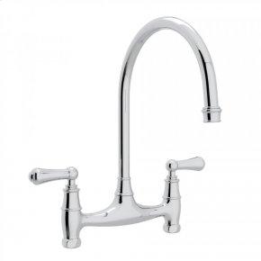 Polished Chrome Perrin & Rowe Georgian Era Bridge Kitchen Faucet with Metal Lever