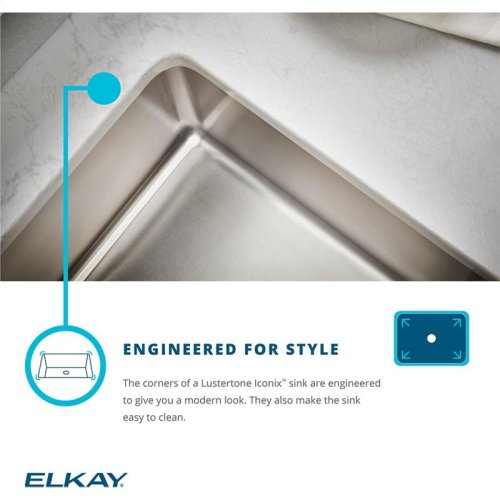 "Elkay Lustertone Iconix Stainless Steel 23-1/2"" x 18-1/4"" x 9"", Single Bowl Undermount Sink with Perfect Drain"