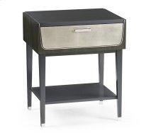 Contemporary Art Deco Dark Grey Walnut & Champagne Silver-Leaf Bedside Table