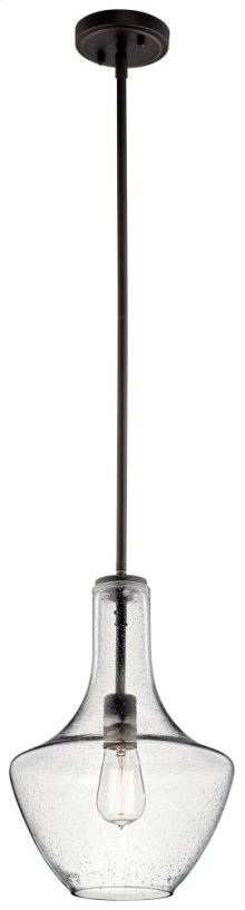 Everly 1 Light Wide Curve Pendant Olde Bronze® with Clear Seeded Glass