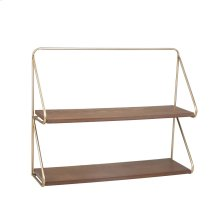"Metal/wood 20"" 2 Tier Wall Shelf, Gold"