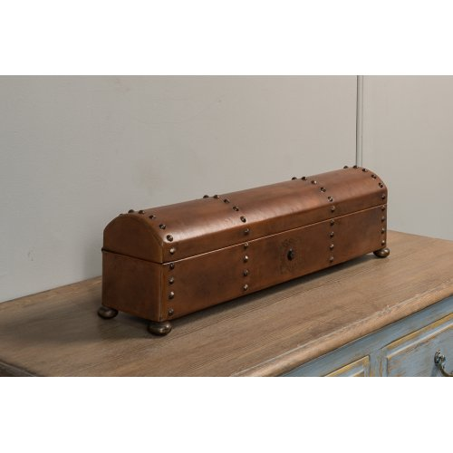 Telescope Leather Box W/Tacks