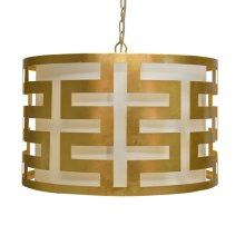 Gold Leafed Greek Key Pendant With Interior Shade and Diffuser. Uses Three 40w Candelabra Base Bulbs. 3' Matching Chain Included.