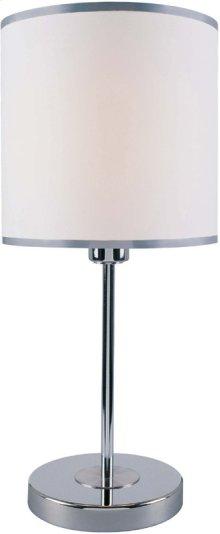 Table Lamp, Chrome/white Fabirc Shade, E27 Cfl 13w,#dci