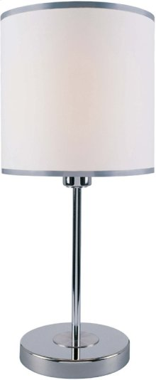 Table Lamp, Chrome/white Fabirc Shade, E27 Cfl 13w,#dci