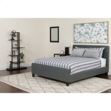 Tribeca Queen Size Tufted Upholstered Platform Bed in Dark Gray Fabric