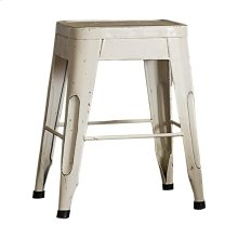 "18"" Metal Stool, White"