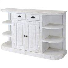 Ayden  60in X 18in X 38in  Two Door Two Drawer Display Cabinet with Flanking Two Door Open Shelvin
