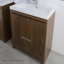 """Free-standing under-counter vanity with finger pulls across top doors and polished chrome pull across bottom drawer, 23 1/8"""" W, 17 5/8"""" D, 33 1/4"""" H."""