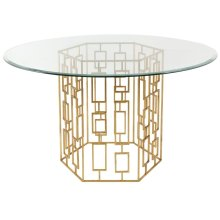 Alexandra Gold Leaf Glass Dining Table - Gold