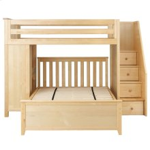 All in One Staircase Loft Bed Study   Full Bed Natural