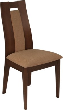 Almont Walnut Finish Wood Dining Chair with Curved Slat Wood and Brown Fabric Seat