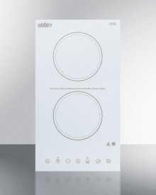 115v 2-burner Cooktop In White Ceramic Schott Glass With Digital Touch Controls, 2400w