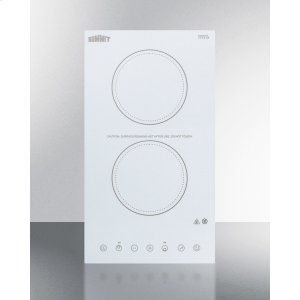 115v 2-burner Cooktop In White Ceramic Schott Glass With Digital Touch Controls, 2400w -